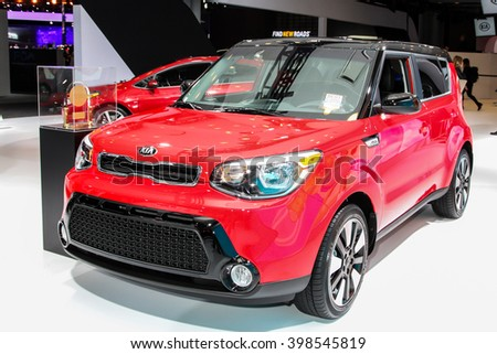 NEW YORK - MARCH 23: A KIA SOUL at the 2016 New York International Auto Show during Press day,  public show is running from March 25th through April 3, 2016 in New York, NY. - stock photo