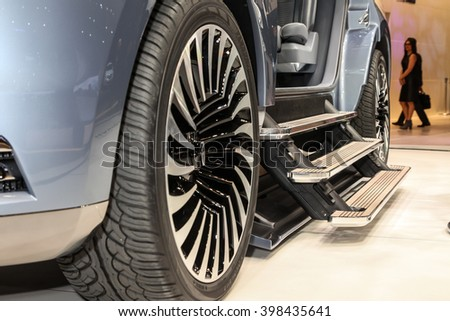 NEW YORK - March 23: A Lincoln Navigator Concept shown at the New York International Auto  Show exhibit at the 2016 New York International Auto Show during Press day in New York, NY. - stock photo