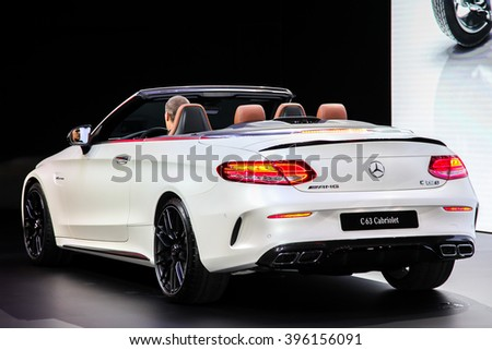 NEW YORK - March 23: A Mercedes AMG C 63 Cabriolet exhibit at the 2016 New York International Auto Show during Press day,  public show is running from March 25th through April 3, 2016 in New York, NY. - stock photo