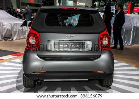 NEW YORK - March 23: A Mercedes Smart Fortwo exhibit at the 2016 New York International Auto Show during Press day,  public show is running from March 25th through April 3, 2016 in New York, NY. - stock photo