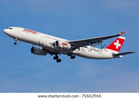 NEW YORK - MARCH 22: A330 Swiss On final approach to JFK in New York, USA on March 22, 2011. Swiss is rated top 10 offered best connection service to over 200 destination in the whole world