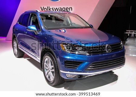 NEW YORK - MARCH 23: A Volkswagen Touareg at the 2016 New York International Auto Show during Press day,  public show is running from March 25th through April 3, 2016 in New York, NY. - stock photo
