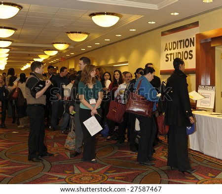 NEW YORK-MARCH 29: Actors line up in queue for auditions at the ShowBiz Expo at the Hilton Hotel March 29, 2009. - stock photo