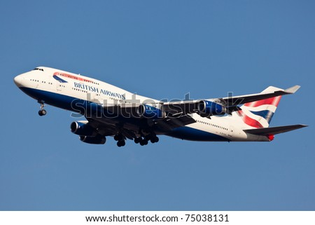 NEW YORK - MARCH 25: Boeing 747 British Airways approaching JFK in New York, USA on March 25, 2011. British Airways is one of the oldest airlines and rated top 3 biggest in Europe - stock photo
