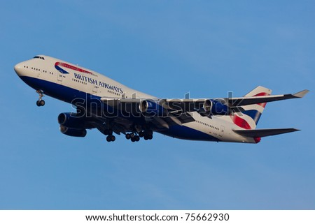 NEW YORK - MARCH 11: Boeing 747 British Airways approaching JFK in New York, USA on March 11, 2011. British Airways is one of the oldest airlines and rated top 3 biggest in Europe - stock photo