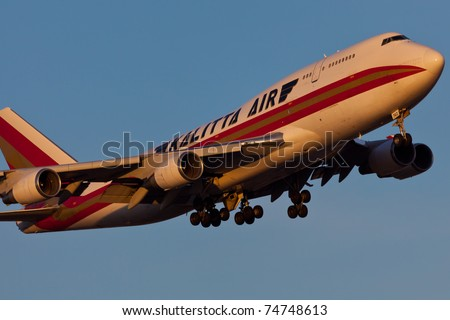 NEW YORK - MARCH 8: Boeing 747 Kalitta approaches JFK in New York, USA on March 8, 2011. Kalitta provides domestic and international scheduled cargo service and support for US Department of Defense