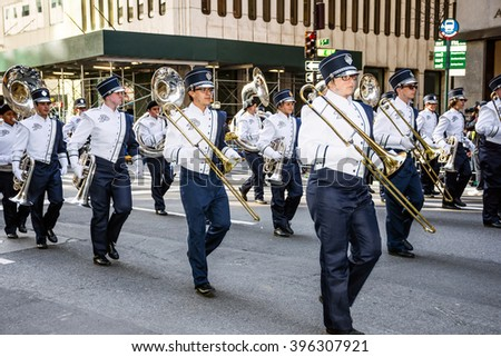 NEW YORK-MARCH 17-Dr Phillips High School Band of Orlando Florida in the St Patrickâ??s Day Parade on March 17 2016 in New York City.