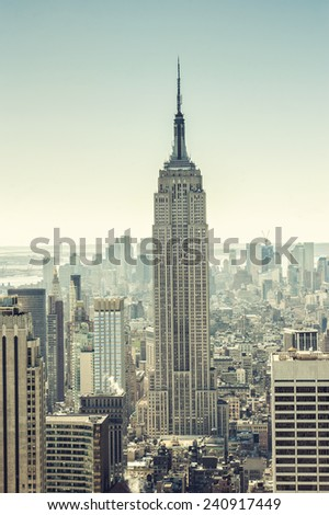 NEW YORK - march 5 : Empire state building facade at sunset pictured on march 5 2011, in NYC. It stood as the world's tallest building for more than 40 years (from 1931 to 1972). - stock photo