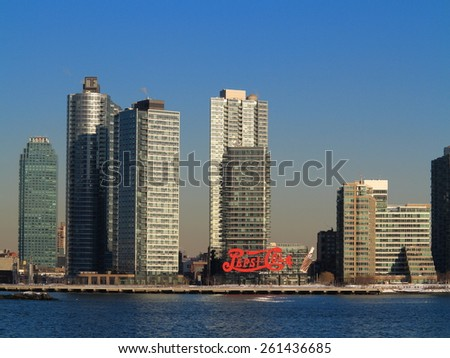 NEW YORK - MARCH 6: Famous Pepsi-Cola sign in Gantry Plaza State Park, Queens, on March 6, 2015 in New York. The sign was constructed in 1936 by Artkraft Strauss. - stock photo