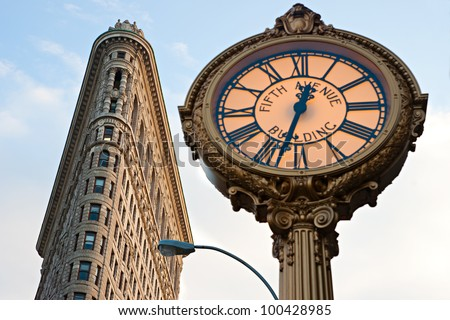 NEW YORK -MARCH 29: Flat Iron building facade on March 29, 2012. Completed in 1902, it is considered to be one of the first skyscrapers ever built. - stock photo