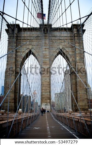 NEW YORK - MARCH 26: Jane Doe and John Doe, at Brooklyn Bridge March 26, 2010 in New York. - stock photo