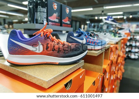 New York, March 11, 2017: Nike shoes are set on display in a