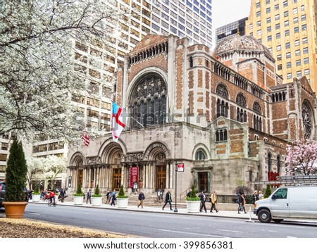 NEW YORK-MARCH 31-The historic St Bartâ??s church during the Spring along Park Avenue on March 31 2016 in New York City. - stock photo