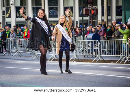 NEW YORK-MARCH 17-The The beautiful Rose of Tralee women march in the St Patrickâ??s Day Parade on March 17 2016 in New York City. - stock photo