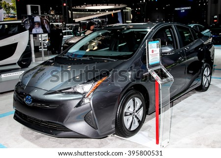 NEW YORK - March 23: Toyota Prius exhibit at the 2016 New York International Auto Show during Press day,  public show is running from March 25th through April 3, 2016 in New York, NY. - stock photo