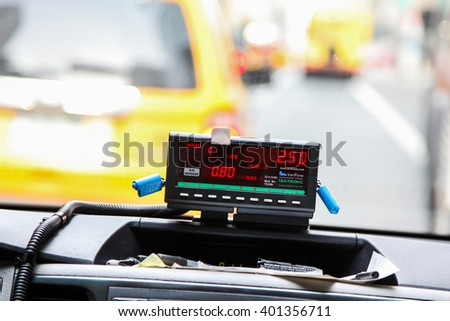 NEW YORK - MARCH 23: View from cab with meter display in New York on March 23, 2016 - stock photo