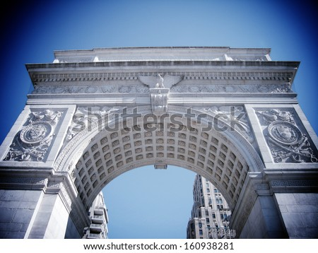 NEW YORK - MARCH 9:  Washington Square Arch on March 9, 2007 in New York. The arch was built in 1892 to commemorate George Washington centennial inauguration as president.  - stock photo