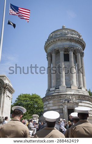 NEW YORK - MAY 25 2015: A group of military personnel from the US Marine Corps attend the Memorial Day Observance service at the Soldiers and Sailors Monument  in Manhattan during Fleet Week NY 2015. - stock photo