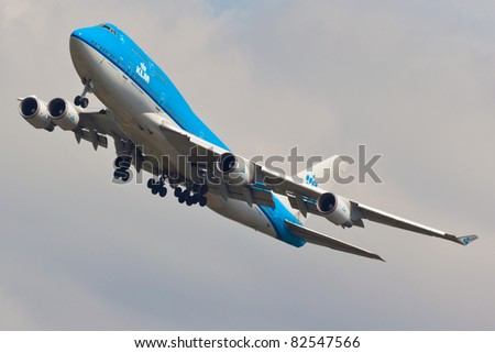 NEW YORK - MAY 25: A KLM Boeing 747 on approach to JFK Airport located in New York, USA on May 25, 2011. KLM is one of the biggest airlines in the world and serves over 200 destinations