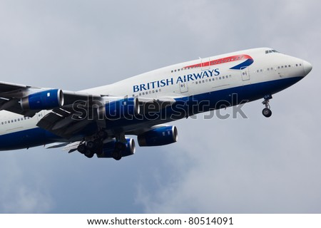 NEW YORK - MAY 20: Boeing 747 British Airways climbs after take off from JFK in New York, USA on May 20, 2011. British Airways is one of the oldest airlines and rated top 3 biggest in Europe - stock photo