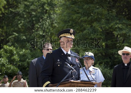NEW YORK - MAY 25 2015: Brig. General Thomas Principe, NYARNG (Ret) at the podium to speak at the Memorial Day Observance service at the Soldiers and Sailors Monument during Fleet Week NY 2015. - stock photo