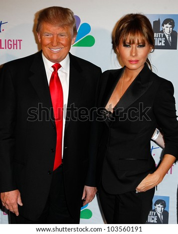 "NEW YORK-MAY 20: Donald Trump and wife Melania attend the ""Celebrity Apprentice"" Live Finale at the American Museum of Natural History on May 20, 2012 in New York City. - stock photo"