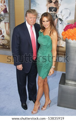 "NEW YORK - MAY 24: Donald Trump and wife Melania attend the premiere of ""Sex and the City 2"" at Radio City Music Hall on May 24, 2010 in New York City. - stock photo"