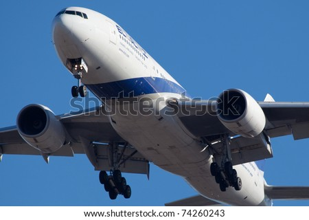 NEW YORK - MAY 2: EL AL Israel in full landing configuration over JFK Airport in New York, USA, on May 2, 2010. El Al Israel is the safest airline in the world, EL Al is under surveillance of MOSAD