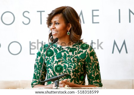 NEW YORK-MAY 5: First Lady of the United States Michelle Obama speaks at the Anna Wintour Costume Center Grand Opening at the Metropolitan Museum of Art on May 5, 2014 in New York City.
