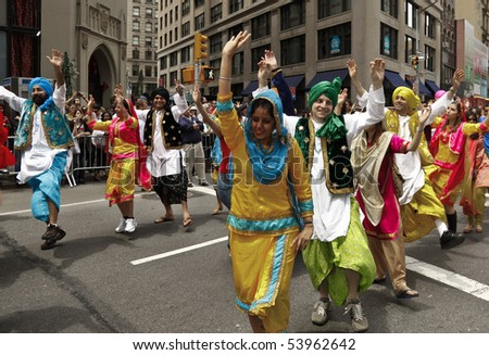 NEW YORK - MAY 22: Indian traditional dancers march at Annual Dance Parade in Manhattan on May 22, 2010 in New York City.