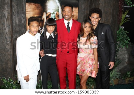 """NEW YORK - MAY 29: Jaden Smith, Willow Smith, Will Smith, Jada Pinkett Smith and Trey Smith attend the premiere of """"After Earth"""" at the Ziegfeld Theatre on May 29, 2013 in New York City.  - stock photo"""