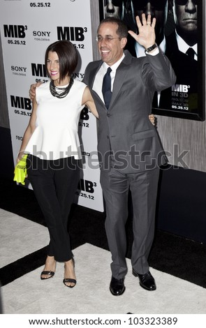 NEW YORK - MAY 23: Jerry and Jessica Seinfeld attend the 'Men In Black 3' New York Premiere at Ziegfeld Theatre on May 23, 2012 in New York City. - stock photo