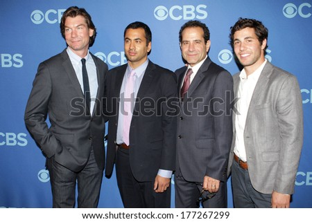NEW YORK - MAY 15: Jerry O'Connell, Kal Penn, Tony Shalhoub and Chris Smith attend the 2013 CBS Upfront at Lincoln Center on May 15, 2013 in New York City. - stock photo