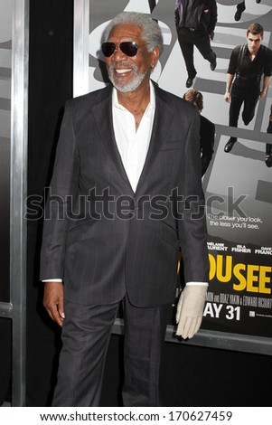 "NEW YORK - May 21: Morgan Freeman attends the premiere of ""Now You See Me"" at AMC Lincoln Square on May 21, 2013 in New York City. - stock photo"