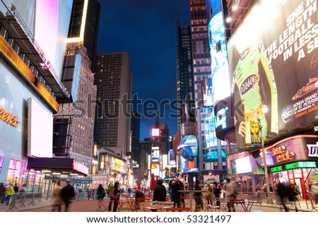 NEW YORK - MAY 9: Night scene of Times Square in Manhattan after attempted car bombing incident May 9, 2010 in New York, United States. - stock photo