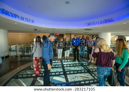 NEW YORK - MAY 29 : ONE  WORLD OBSERVATORY grand opening day on May 29, 2015. It  is open year round. Starting May 29th until September 7th from 9 a.m. until midnight - stock photo