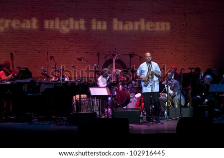 NEW YORK - MAY 17: Randy Weston performs on stage as the Jazz Foundation of America celebrates A Great Night In Harlem at The Apollo Theater on May 17, 2012 in New York City.