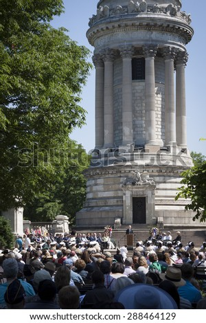 NEW YORK - MAY 25 2015: Secretary of the Navy (SECNAV) Ray Mabus speaking to the audience during the Memorial Day service held at the historic Soldiers and Sailors Monument during Fleet Week NY 2015. - stock photo