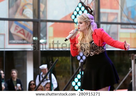 NEW YORK - MAY 22: Singer Meghan Trainor performs at NBC's Toyota Concert Series at Rockefeller Plaza on May 22, 2015 in New York City. - stock photo