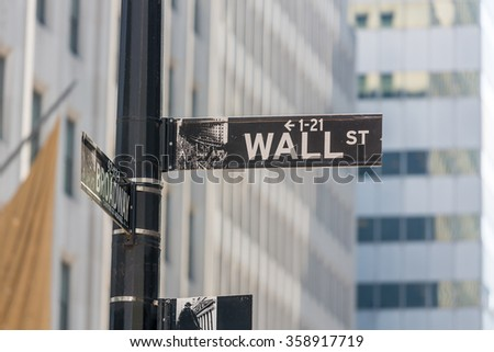 NEW YORK - MAY 05: Street sign at intersection of Wall Street and Broadway on May 5, 2015 in Manhattan, New York, NY. Manhattan is one of the worlds leading cultural and economic centers. - stock photo