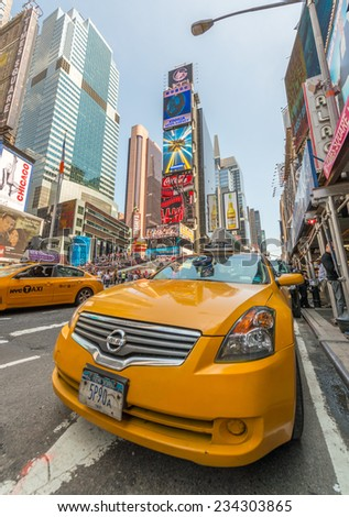 NEW YORK - MAY 11: Taxicabs along Manhattan avenues. Licensed by the New York City Taxi and Limousine Commission, there are over 40.000 vehicles, on May 11, 2013 in New York City. USA - stock photo