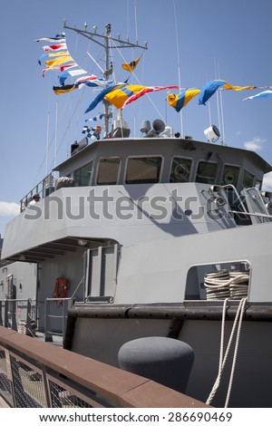 NEW YORK - MAY 22 2015: The bridge of a US Naval Academy Yard Patrol Craft used for at-sea training and research purposes, moored at Pier 86 and open for public tours during Fleet Week NY 2015.