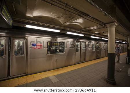 NEW YORK - May 28, 2015: The New York City Subway is one of the world's oldest public transit systems, in addition to being one of the world's most used metro systems.