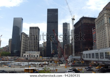NEW YORK -  MAY 15: The World Trade Center under construction in New York City, New York, on May 15, 2009. One World Trade Center, more simply known as 1 WTC, and formerly known as the Freedom Tower. - stock photo