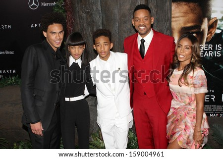 """NEW YORK - MAY 29: Trey Smith, Jaden Smith, Willow Smith, Will Smith and Jada Pinkett Smith attend the premiere of """"After Earth"""" at the Ziegfeld Theatre on May 29, 2013 in New York City.  - stock photo"""