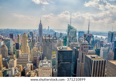 NEW YORK - MAY 05: View from The Top of the Rock observation deck at Rockefeller Center in New York, NY on May 05, 2015. Rockefeller Center was declared a National Historic Landmark in 1987. - stock photo