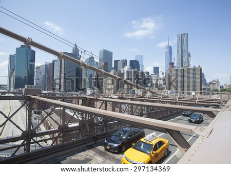 NEW YORK - May 30, 2015: View of lower Manhattan from the Brooklyn Bridge.