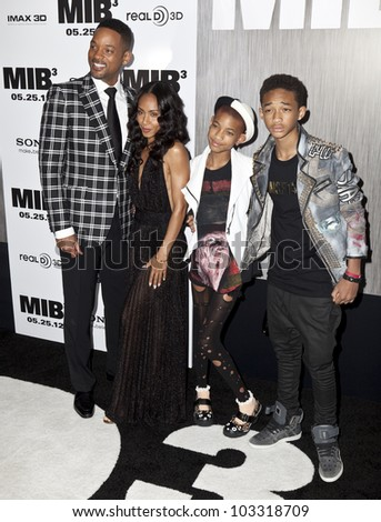 NEW YORK - MAY 23: Will Smith, Jada Pinkett-Smith, Jaden Smith, Willow Smith attend the 'Men In Black 3' New York Premiere at Ziegfeld Theatre on May 23, 2012 in New York City. - stock photo