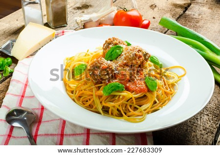 New York meatballs pasta, tomato sauce, all bio food from garden - stock photo