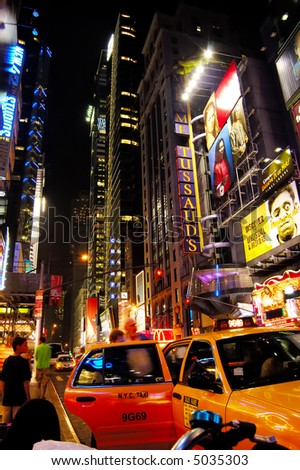 New York 42nd Street at night - stock photo